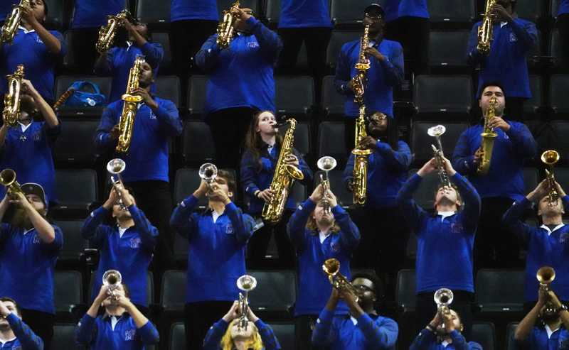 <strong>The University of Memphis band performs during the second half of the Tigers' exhibitiongame against Christian Brothers at FedExForum Friday night.&nbsp;</strong>(Karen Pulfer Focht/Special to The Daily Memphian)