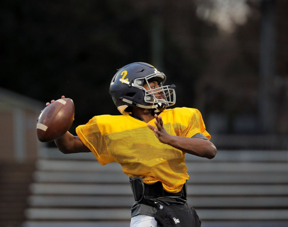 <strong>Lausanne Collegiate School quarterback Kyle Lowe (2) throws the ball during a Nov. 20, 2019, practice at Harding Academy in East Memphis.</strong> (Patrick Lantrip/Daily Memphian)
