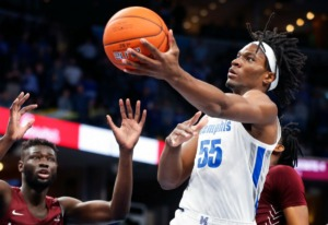 <strong>Memphis forward Precious Achiuwa drives to the basket against the Little Rock defense on Wednesday, Nov. 20, at FedExForum. The Tigers will likely rely heavily on Achiuwa in James Wiseman&rsquo;s absence. The former five-star recruit leads the team in total rebounds and also has scored in double digits in all but one game.&nbsp;</strong>(Mark Weber/Daily Memphian)