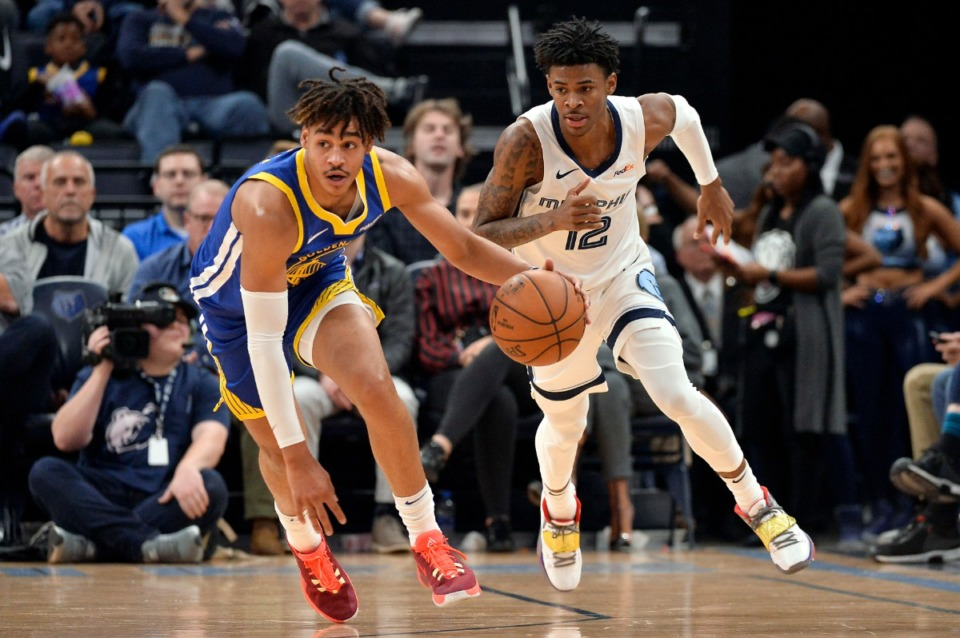 <strong>Golden State Warriors guard Jordan Poole, left, brings the ball up ahead of Memphis Grizzlies guard Ja Morant (12) during the first half of an NBA basketball game Tuesday, Nov. 19, 2019.</strong> (AP Photo/Brandon Dill)