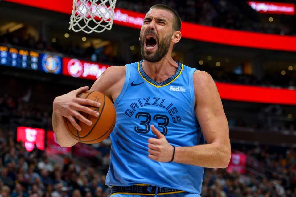 <strong>Memphis Grizzlies center Marc Gasol reacts to a play during the second half of the team's NBA basketball game against the Utah Jazz on Friday, Nov. 2, 2018, in Salt Lake City.</strong> (AP Photo/Alex Goodlett)