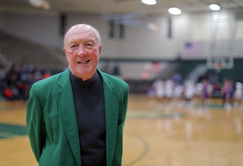 <strong>Coach Terry Tippett, the legendary coach of White Station High School from 1986-2004, stands on the court that will now share his name during his former team's home opener against Christian Brothers High School on Nov. 23, 2019.</strong> (Patrick Lantrip/Daily Memphian)