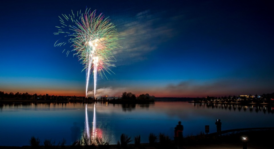 <strong>A fireworks show that created reflections on Hyde Lake marked the close of the Celebrate Shelby event at Shelby Farms Park Nov. 24, 2019. The afternoon-long celebration was held to mark the founding of Shelby County 200 years ago.</strong> (Mike Kerr/Special to Daily Memphian)