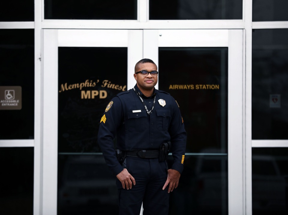 <strong>Sgt. Robert Thomas stands in front the Memphis Police Department Airways station shorty after checking on a nearby business' overactive alarm system Nov. 26. Next year, the city of Memphis is will be charging fees for excessive false alarms.</strong> (Patrick Lantrip/Daily Memphian)