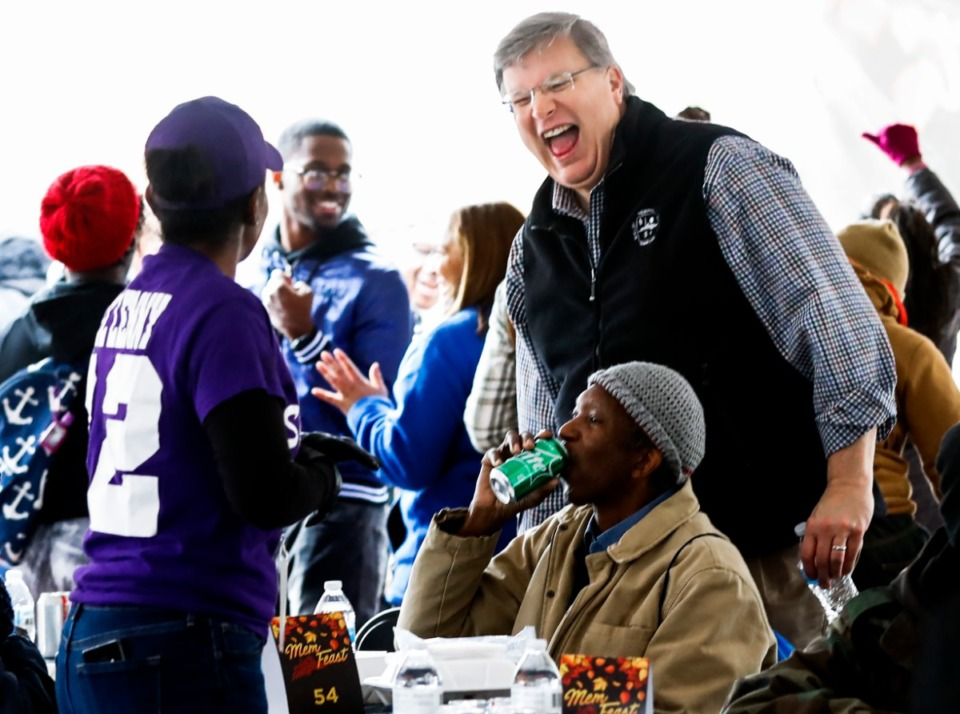 <strong>Mayor Jim Strickland (right) greets attendees during MemFeast on&nbsp; Thursday, Nov. 28, 2019 at City Hall.</strong> (Mark Weber/Daily Memphian)