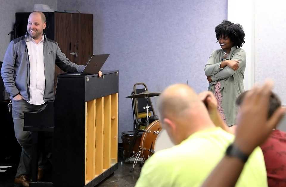 "<p class=""p1""><b>Professor Ben Yonas and artist Jordan Dodson go over some details before the latter&rsquo;s studio session with the University of Memphis Rudi E. Scheidt School of Music's student-run label, Blue TOM Records. According to its website, Blue TOM&rsquo;s mission is to develop artists to their full potential while simultaneously running a record label created by students, for students. </b>(Patrick Lantrip/Daily Memphian)"