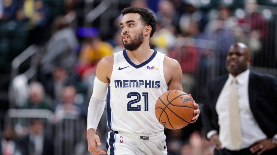 <strong>Memphis Grizzlies guard Tyus Jones (21) plays against the Indiana Pacers during the second half of an NBA basketball game in Indianapolis, Monday, Nov. 25, 2019. The Pacers defeated the Grizzlies 126-114.</strong> (AP Photo/Michael Conroy)