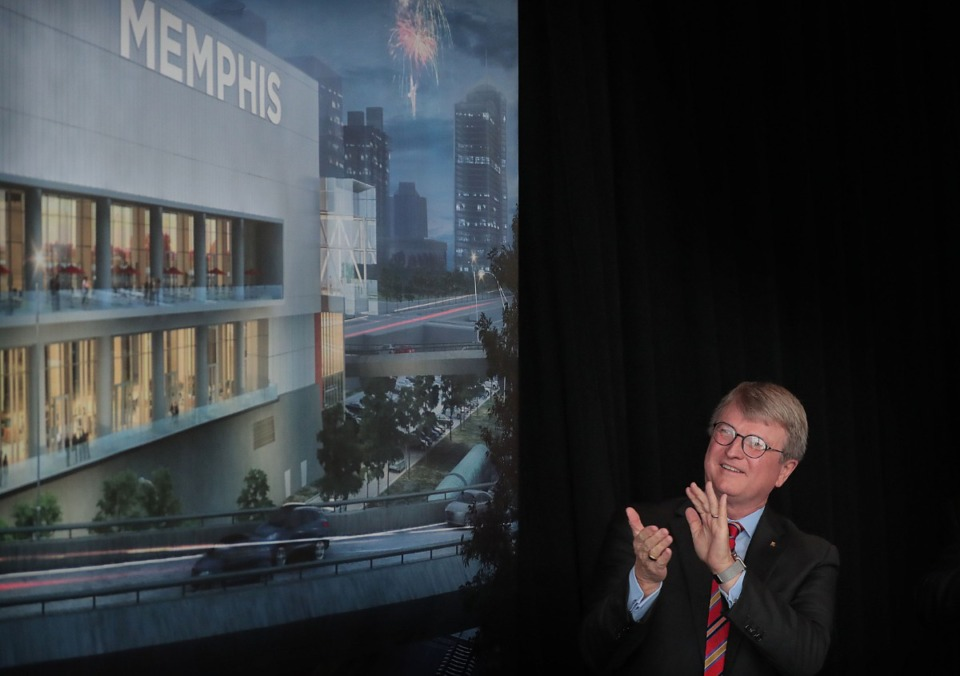 <strong>Renasant Bank CEO Mitch Waycaster participates in an unveiling ceremony with Memphis Mayor Jim Strickland at the Cannon Center for the Performing Arts on Nov. 21, 2019 to announce the official name change for the Downtown convention center to the Renasant Convention Center.</strong> (Jim Weber/Daily Memphian)