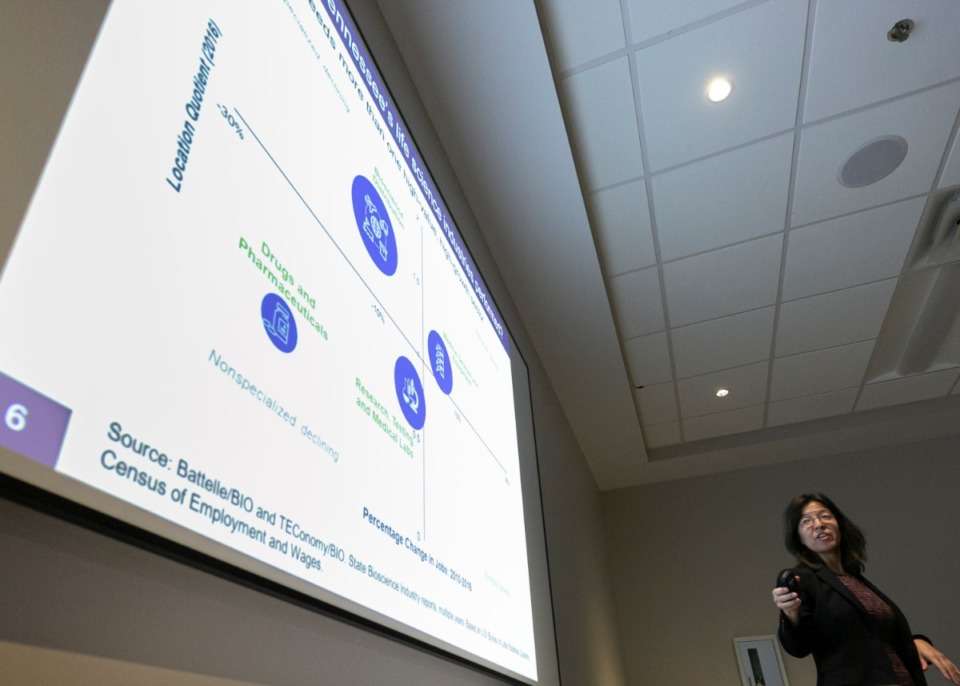 <strong>Jennifer Ozawa of RTI International speaks on the regional medical device industry statistics to the Board of Directors of the Greater Memphis Medical Device Council (GMMDC) in Bartlett Dec. 2, 2019.</strong> (Ziggy Mack/Special to The Daily Memphian)