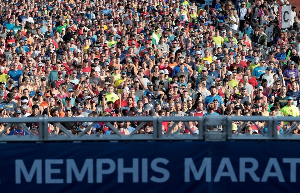 <strong>Runners line up in front of FedExForum for at the start of the 17th annual St. Jude Memphis Marathon on Saturday Dec. 1, 2018.&nbsp;</strong>(Jim Weber/Daily Memphian file)