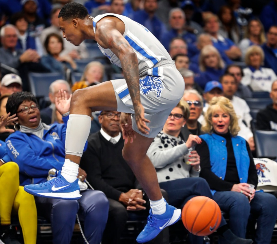 <strong>Memphis defender D.J. Jeffries saves a ball through his legs from going out of bound during action against Bradley Tuesday, Dec. 3, 2019 at the FedExForum.</strong> (Mark Weber/Daily Memphian)