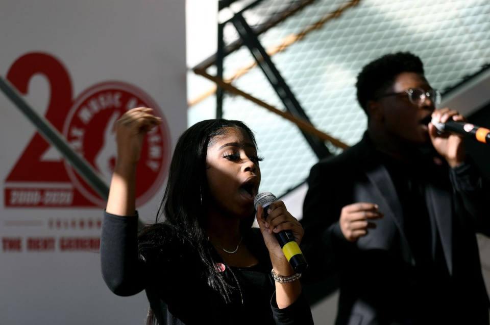 <strong>Students of the Stax Music Academy performed at the Dec. 4 press conference.</strong> (Patrick Lantrip/Daily Memphian)