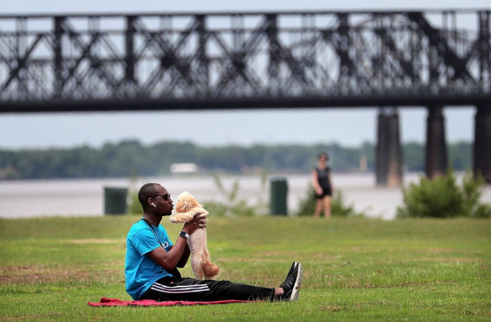 <strong>Kedron Pryor plays with Cookie on June 11, 2019, at Tom Lee Park where the Memphis River Parks Partnership is planning to a major renovation.</strong> (Jim Weber/Daily Memphian)