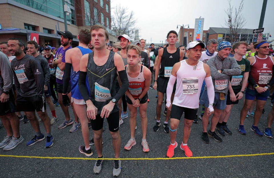 <strong>The first group of runners awaits the start of the St. Jude Marathon in Downtown Memphis on Dec. 7, 2019.</strong> (Patrick Lantrip/Daily Memphian)