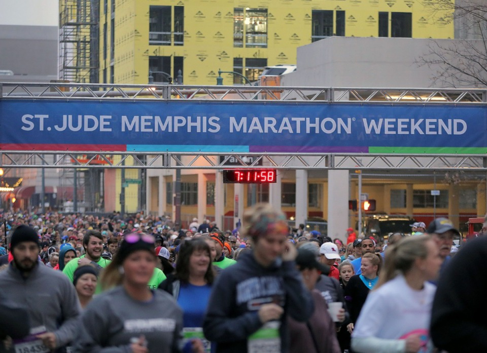 <strong>More than 26,000 people packed the streets of Downtown Memphis for the St. Jude Marathon on Dec. 7, 2019.</strong> (Patrick Lantrip/Daily Memphian)