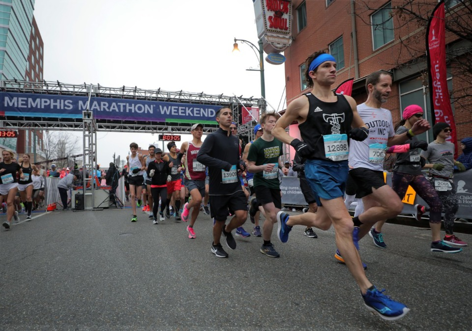 <strong>Runners from all 50 states and 17 countries participated in the St. Jude Marathon in Downtown Memphis on Dec. 7, 2019.</strong> (Patrick Lantrip/Daily Memphian)
