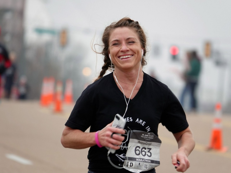 <strong>AnnaGrace Fulmer is one of more than 25,000 runners in the St. Jude Marathon Saturday, Dec. 7, 2019.</strong> (Karen Pulfer Focht/Special to Daily Memphian)