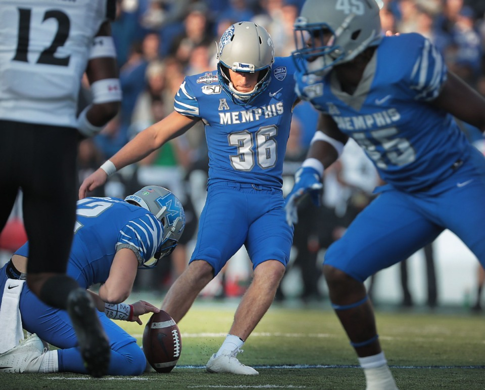 <strong>University of Memphis kicker Riley Patterson scores against Cincinnati's during the first half of the Tiger's AAC Championship game on Dec. 7, 2019, against the Bearcats at the Liberty Bowl Memorial Stadium.</strong> (Jim Weber/Daily Memphian)