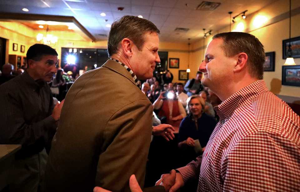 <strong>Bill Lee greets Tennessee Republican Party chairman Scott Golden at Another Broken Egg in East Memphis on Monday night, Nov. 5. The event was Lee's last campaign stop to encourage voters to turn out to the polls Tuesday.</strong> (Houston Cofield/Daily Memphian)