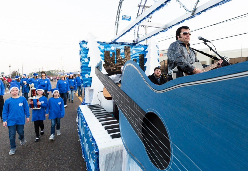 <strong>Elvis tribute artist Chad Wyatt performs during Bartlett Christmas Parade on December 7, 2019 in Bartlett.</strong> (Ziggy Mack/special to the Daily Memphian)
