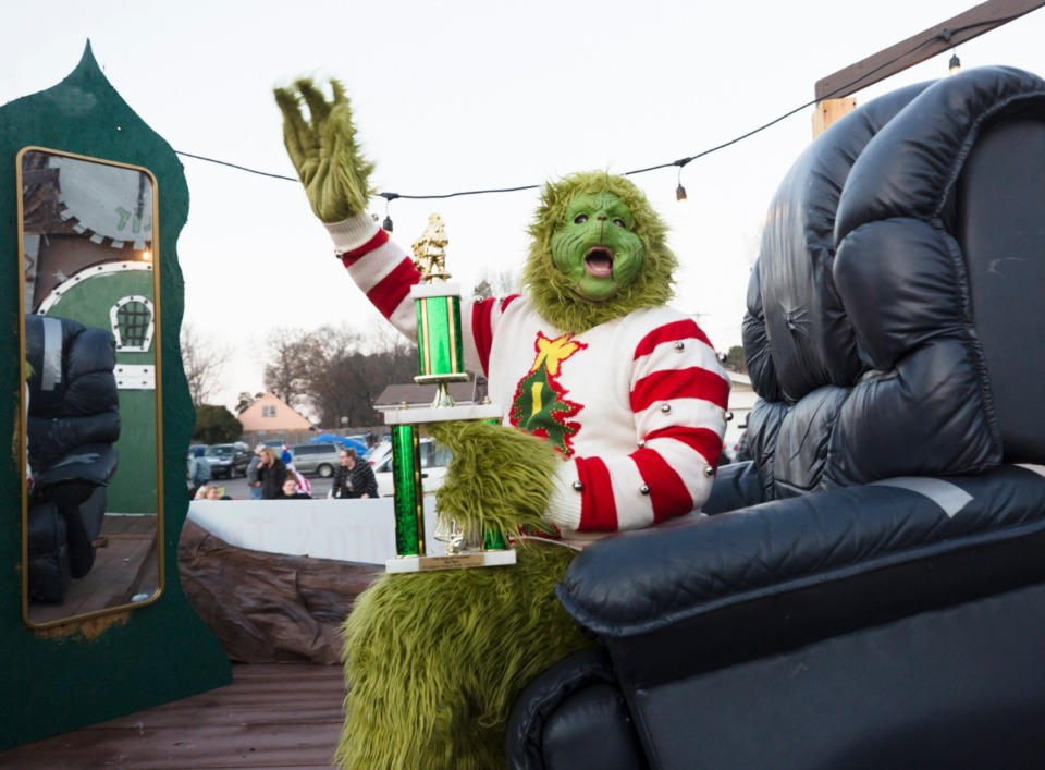 <strong>Aiden Ramsawack takes on the role of the Grinch during the Bartlett Christmas Parade on December 7, 2019.</strong> (Ziggy Mack/special to the Daily Memphian)
