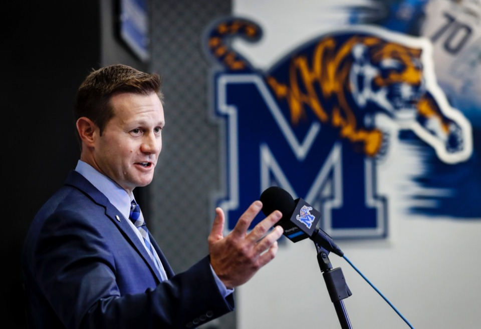 <strong>Memphis interim head coach Ryan Silverfield addresses the media Dec. 8 regarding the departure of football head coach Mike Norvell and the team's upcoming Cotton Bowl game.</strong> (Mark Weber/Daily Memphian)