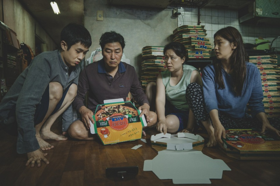 "<span><strong>The Kim Family (Woo-sik Choi, Kang-ho Song, Hye-jin Jang, So-dam Park) in ""Parasite.""</strong> (Courtesy of NEON + CJ Entertainment.)</span>"