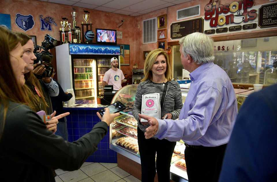 <strong>Republican U.S. Senate nominee Marsha Blackburn greets voters at Gibson's Donuts early on Election Day, Nov. 6. Blackburn is among the candidates making a last-minute push for voters in Memphis.</strong><span>&nbsp;(Stan Carroll/Special To The Daily Memphian)</span>