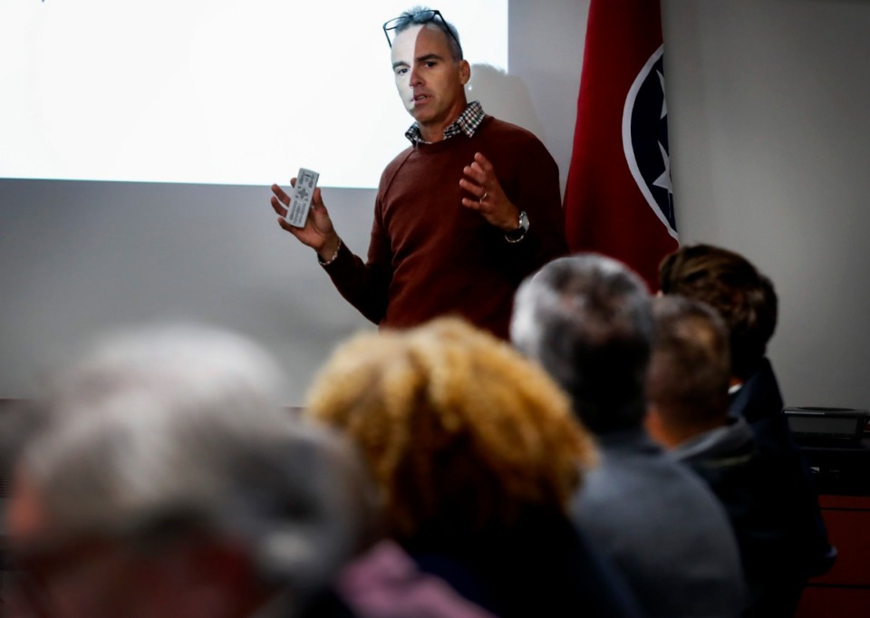 <strong>Carrier Corp. project manager Ben Brantley addresses the Shelby County Groundwater Board on Tuesday, Dec. 10, in Bartlett. A request by Carrier to inject treated water into the Memphis Sand aquifer near its Collierville plant was tabled by the board.</strong> (Mark Weber/Daily Memphian)