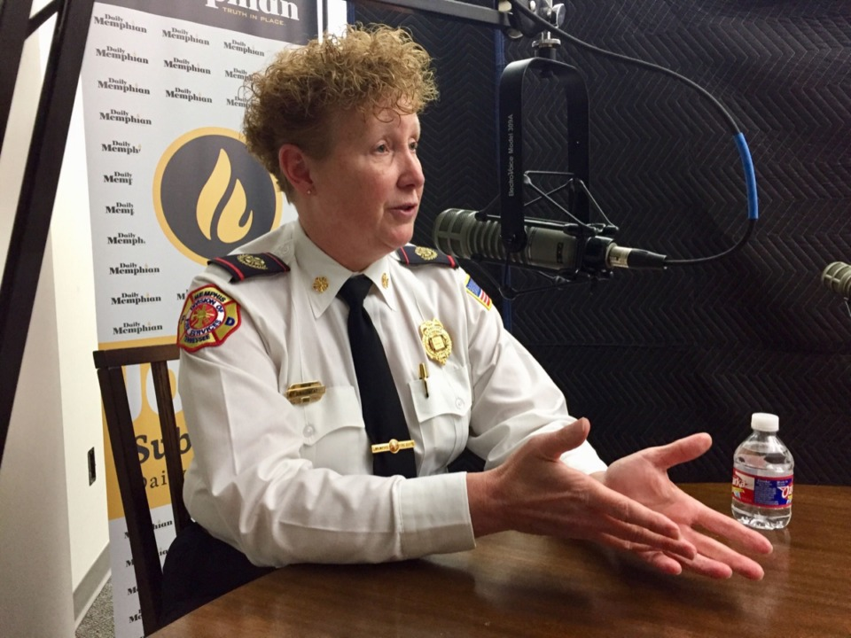 <strong>Gina Sweat is the first female fire chief in Memphis.</strong>