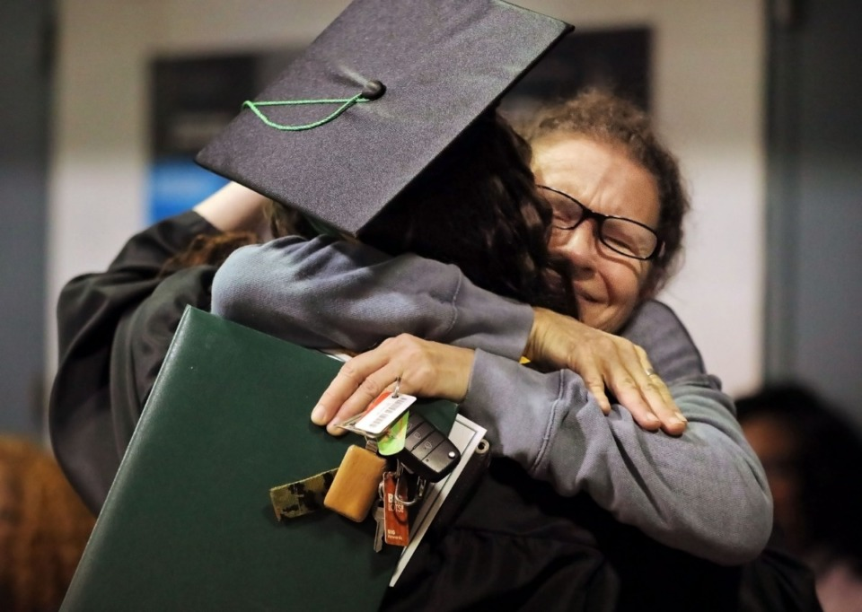 <strong>Teresa Blount hugs her daughter, a Shelby County Jail East inmate who received her high school equivalency diploma on Wednesday, Dec. 11. Blount's daughter was&nbsp;</strong><span><strong>one of four women incarcerated at the women's jail who received their diplomas during a ceremony at the East Memphis jail.</strong>&nbsp;</span>(Patrick Lantrip/Daily Memphian)