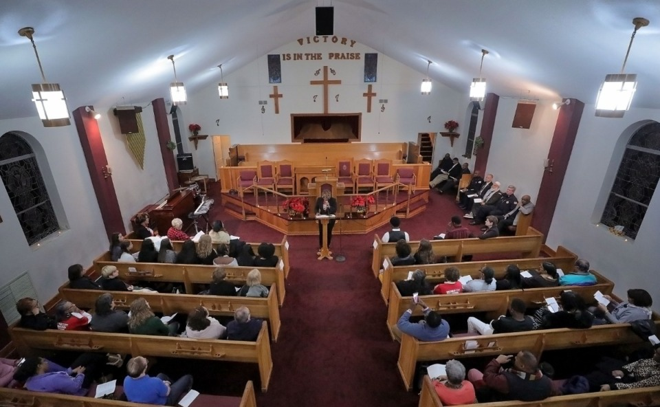 <strong>JoAnn Lewis speaks at an event honoring the Memphians who've lost their lives to gun violence this year at the Holy City Church of God in Christ Dec. 13, 2019.</strong> (Patrick Lantrip/Daily Memphian)