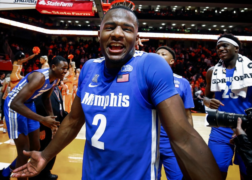 <strong>Memphis guard Alex Lomax walks off the court screaming that the Tigers only had a 19% chance of winning after beating Tennessee 51-47 Saturday, Dec. 14, 2019 in Knoxville, Tennessee.</strong> (Mark Weber/Daily Memphian)