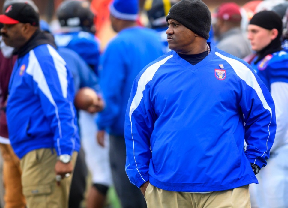 <strong>Blue team head coach Preston Davis from Douglas High School looks on at the Liberty Bowl High School All-Star game Saturday, Dec. 14, 2019, at MUS.</strong>&nbsp;(Greg Campbell/Special to The Daily Memphian)