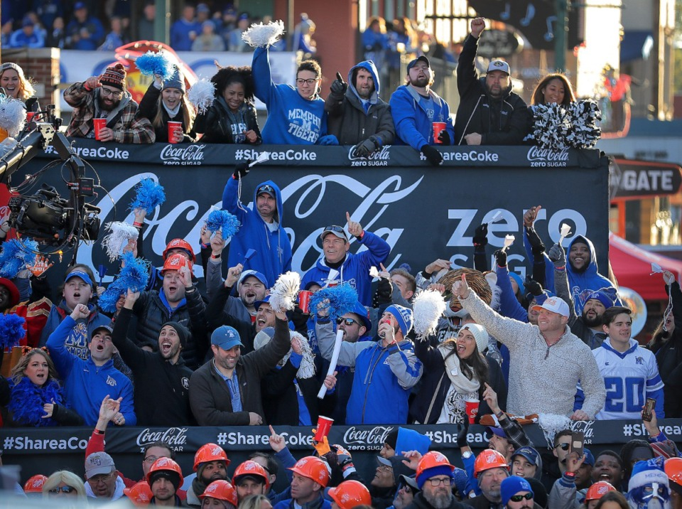 """<strong>Memphis Tiger football fans cheer for the cameras during the live broadcast on Beale Street of ESPN's """"College GameDay"""" on Nov. 2, 2019.</strong> (Jim Weber/Daily Memphian)"""