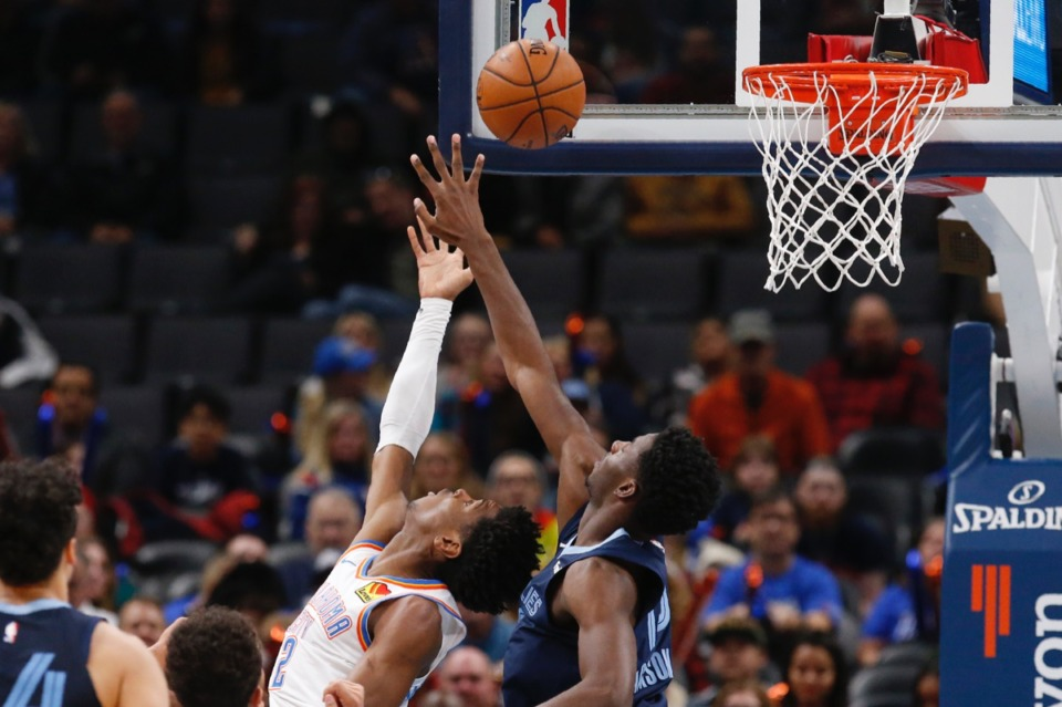 <strong>Oklahoma City Thunder guard Shai Gilgeous-Alexander, left, shoots in front of Memphis Grizzlies forward Jaren Jackson Jr., right, Dec. 18 in Oklahoma City.</strong> (Sue Ogrocki/AP)