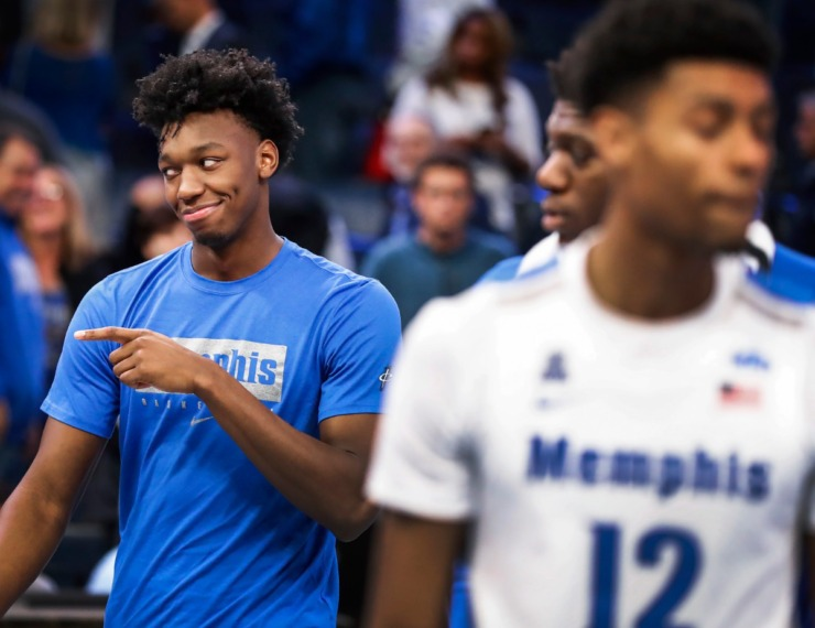 <strong>Suspended Memphis center James Wiseman points to fans after the Tigers defeated Little Rock on Nov. 20, 2019, at FedExForum.</strong> (Mark Weber/Daily Memphian)