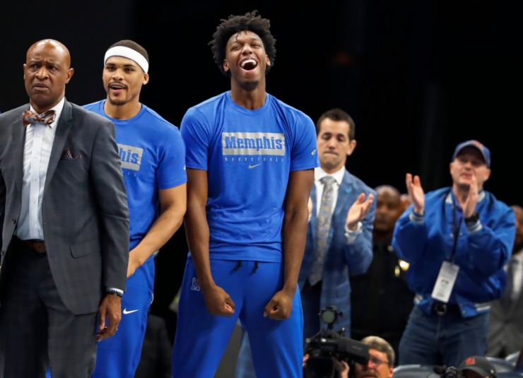 <strong>Suspended Memphis center James Wiseman (middle) watches action against Little Rock from the bench on Nov. 20, 2019, at FedExForum.</strong> (Mark Weber/Daily Memphian)