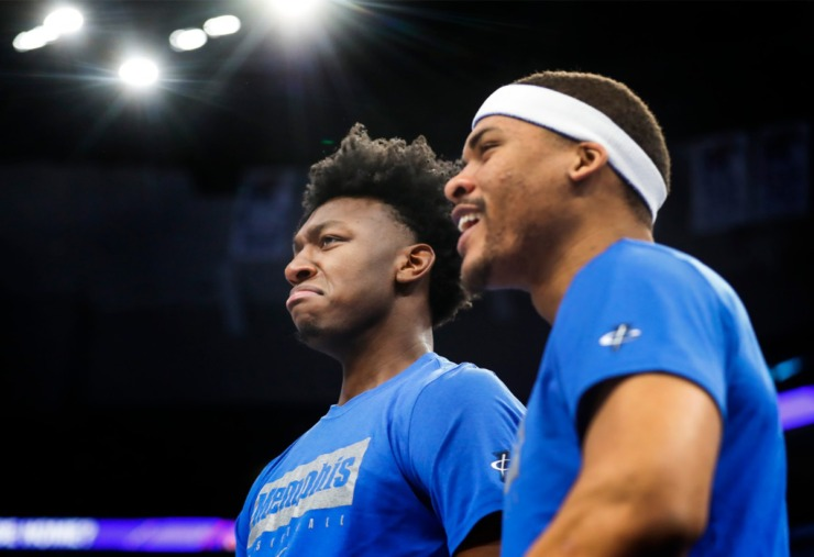 <strong>Suspended Memphis center James Wiseman (left) and Isaiah Stokes&nbsp; celebrate on the bench during action against Little Rock on Nov. 20, 2019, at FedExForum.</strong> (Mark Weber/Daily Memphian)