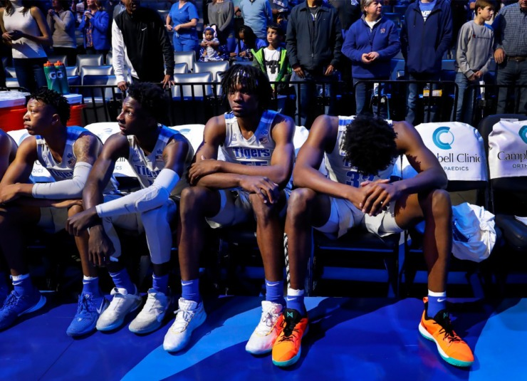 <strong>Memphis center James Wiseman (right) bows his head during player interaction before taking on UIC on Nov. 8, 2019, at FedExForum.</strong> (Mark Weber/Daily Memphian)