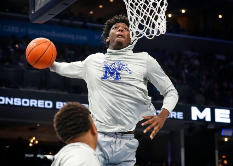 <strong>Tiger James Wiseman goes up for a dunk during Memphis Madness at FedExForum on Oct. 3, 2019.</strong> (Mark Weber/Daily Memphian)