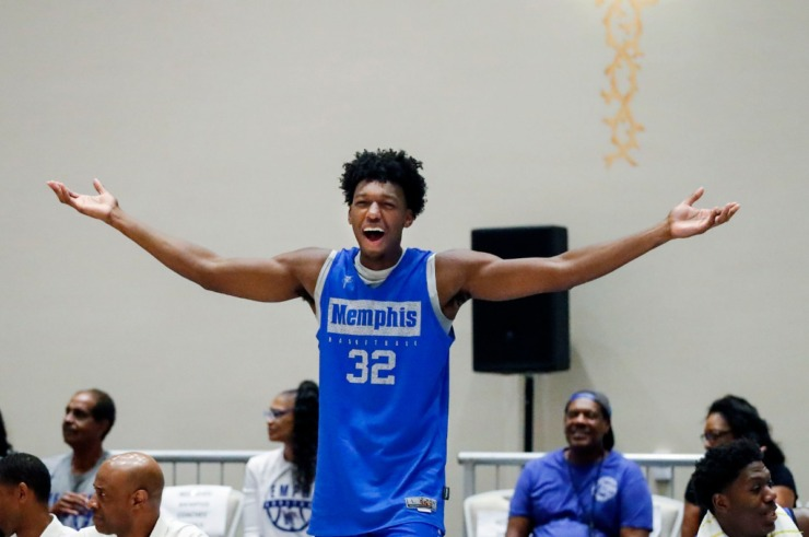 <strong>University of Memphis center James Wiseman reacts to an official's call during action against Raw Talent Elite in their exhibition game in Nassau, Bahamas, on August 18, 2019.</strong> (Mark Weber/Daily Memphian)
