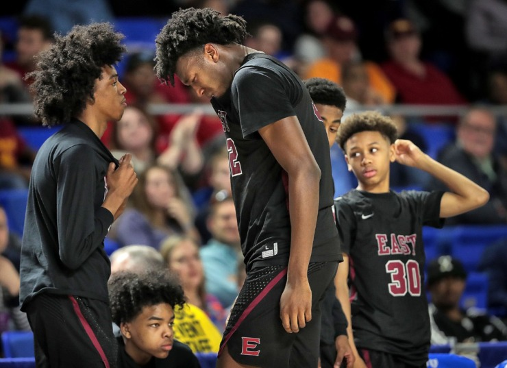 <strong>East High School's James Wiseman (center) reacts after fouling out late in the 4th quarter during East's TSSAA Class AAA state basketball finals game against Bearden at MTSU in Murfreesboro on March 16, 2019.</strong> (Jim Weber/Daily Memphian)