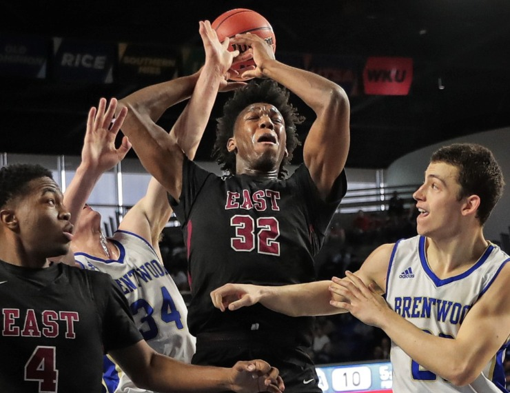 <strong>East's James Wiseman (32) is fouled while making a shot during East High School's TSSAA Class AAA semifinal game against Brentwood at MTSU in Murfreesboro on March 15, 2019.</strong> (Jim Weber/Daily Memphian)