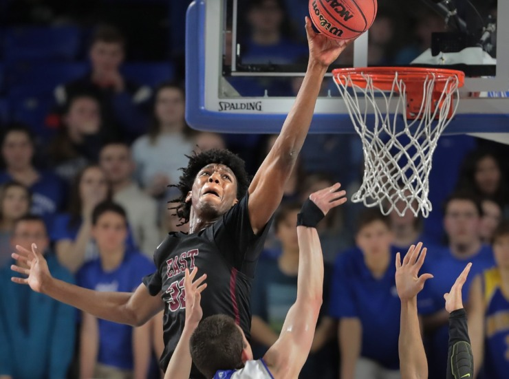 <strong>East's James Wiseman (32) blocks a shot during East High School's TSSAA Class AAA semifinal game against Brentwood at MTSU in Murfreesboro on March 15, 2019.</strong> (Jim Weber/Daily Memphian)