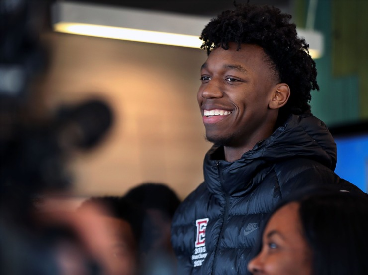 <strong>James Wiseman was given his McDonald's All-American jersey on March 6, 2019. The U of M incoming freshman headlines the 2019 class as ESPN's No. 1 ranked recruit in the county.</strong> (Patrick Lantrip/Daily Memphian)