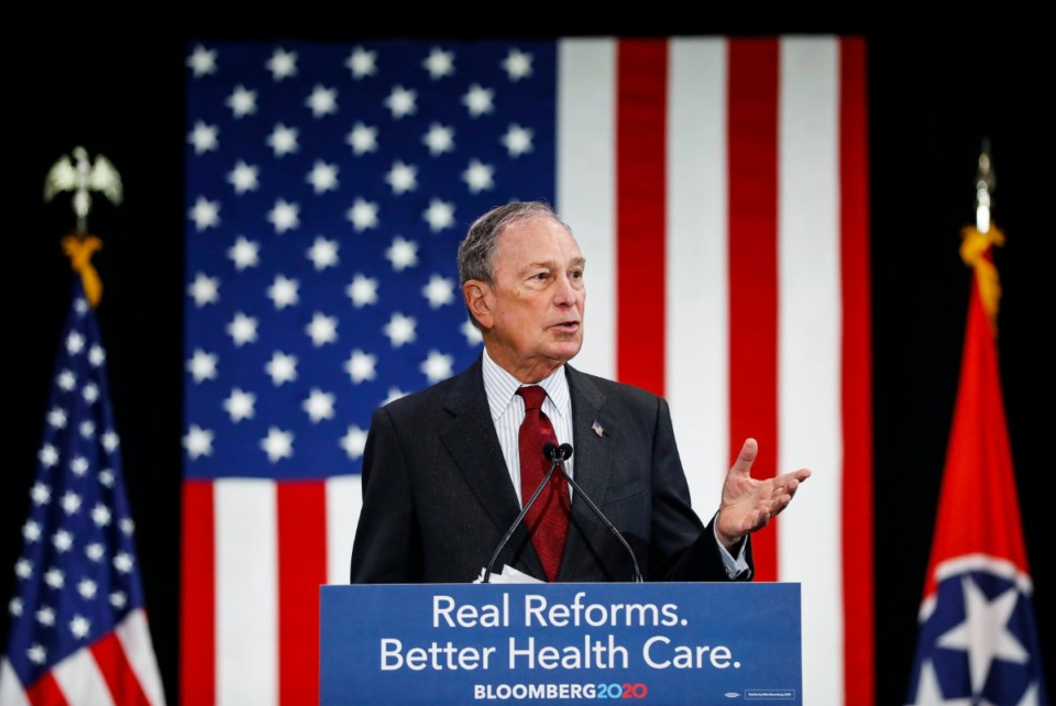 <strong>Democratic presidential contender Michael Bloomberg campaigns during a stop at Benjamin L. Hooks Central Library. Thursday , Dec. 19, 2019.</strong> (Mark Weber/Daily Memphian)
