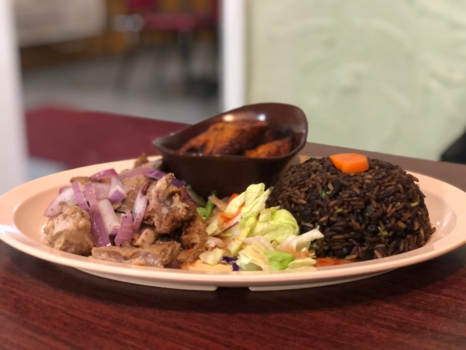 <strong>Roast pork with plantains, a simple salad and congri is $10 every day at Havana's Pilon.</strong> (Jennifer Biggs/Daily Memphian)