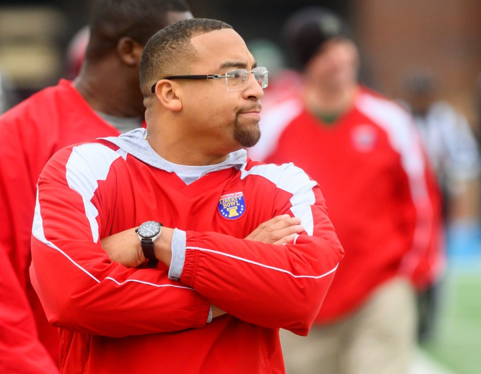 <strong>Red team head coach Gene Robinson from Fairley High School looks on at the AutoZone Liberty Bowl High School All-Star game on Saturday, Dec. 14, at MUS.&nbsp;</strong><span><strong>Germantown High athletic director Chris Bunkley has confirmed that Robinson will be the school's new coach, replacing Tommy Ferrill.</strong>&nbsp;</span>(Greg Campbell/Special to the Daily Memphian)