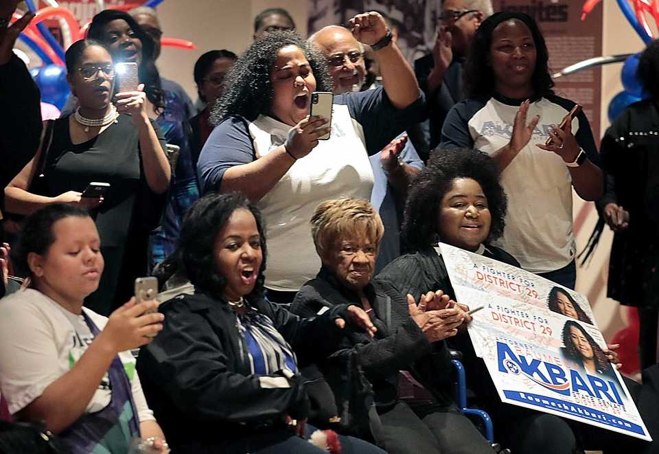 <strong>Supporters and family of newly elected District 29 state Sen. Raumesh Akbari celebrate after the announcement of her win during a watch party at the Stax Museum for Democratic candidates on Tuesday, Nov. 6.</strong> (Jim Weber/Daily Memphian)